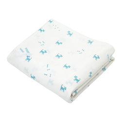 Auggie - Felix Crib Sheet - Woof Woof! With its playful imagery and peaceful palette Felix is perfect for any nursery. Easily mixes with blue accent pieces.