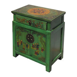 Chinese Green End Table with Kids Playing Graphic - This is a side table / nightstand with rustic vintage green lacquer finish. A colorful scenery of Asian kids playing is drawn on the door, drawer and top. Kids and others position is different for each table.