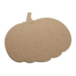 Epicurean® Natural Dishwasher-Safe Pumpkin Board - This easy-care, eco-friendly cutting board in a friendly pumpkin shape is handcrafted in Minnesota from sustainably harvested American wood. The construction process uses wood pulp certified by the Forest Stewardship Council (FSC), a nonprofit organization that encourages responsible management of the world's forests. Food-safe resin is added in a technique that dramatically reduces waste, while Greenguard certification assures adherence to strict chemical emission standards, contributing to healthy homes. Dishwasher-safe board with convenient hanging hole will not warp, crack or dull cutlery.