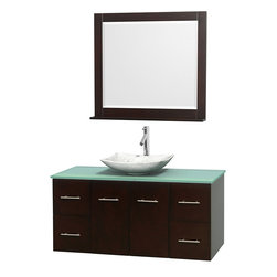 "Wyndham Collection - Centra 48"" Espresso Single Vanity, Green Glass Top, White Carrera Marble Sink - Simplicity and elegance combine in the perfect lines of the Centra vanity by the Wyndham Collection. If cutting-edge contemporary design is your style then the Centra vanity is for you - modern, chic and built to last a lifetime. Available with green glass, pure white man-made stone, ivory marble or white carrera marble counters, with stunning vessel or undermount sink(s) and matching mirror(s). Featuring soft close door hinges, drawer glides, and meticulously finished with brushed chrome hardware. The attention to detail on this beautiful vanity is second to none."