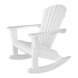 Polywood - Seashell Outdoor Slat Back Rocker with Arms - Slat back