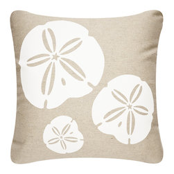 Modern Eco Indoor/Outdoor Pillows - Durable indoor/outdoor throw pillow covers hand printed with a delightful trio of sand dollars exemplify beach decor. The modern design Sand Dollar pillow adds eco style to your coastal outdoor living space. Designed, hand printed, and fabricated in America.