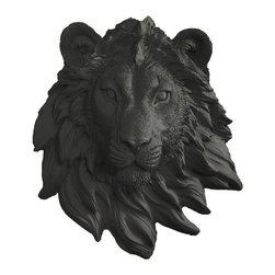 Wall Charmers - Wall Charmers Lion Mini in Black   Faux Taxidermy Resin Fake Animal Head Mount - WALL CHARMERS FAUX TAXIDERMY LION - MINI HEAD