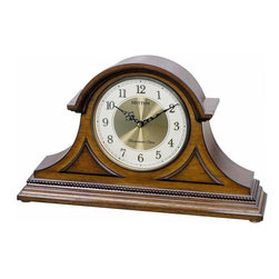 Rhythm - WSM Remington II Wooden Musical Clock - Dressed with exceptional corner overlays and beaded wood working, the Remington II is a traditional tambour style clock with a brass and cream colored dial