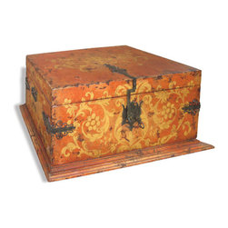 Koenig Collection - Old World Storage Trunk Hings, Venetian Distressed With Painting - Old World Storage Trunk Hings, Venetian Distressed with Painting