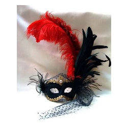 Si Lucia - Si Lucia Columbina Plume With Netting Mask - Si Lucia Columbina Plume With Netting Mask  -  Size: 15L x 10W x 4H  inches  -  Created By Premiere Venetian Mask Maker Franco  -  Made using the exact process used in Venice since 1436  -  Quality and design are unsurpassed  -   Only the finest materials are used  -  Made by hand in Italy each mask comes With  a Si Lucia hangtag  -  Can Be Worn  -  Perfect For Home Decor