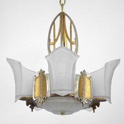 Chandeliers - Antique Art Deco Slip Shade Chandelier