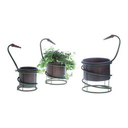 Spring to Life Planter - Set of 3 - Give your space a good old fashion spruce with the lively Spring to Life Planter. A not-so-average garden hose wraps around these metal planters until its spout overlooks your beautiful arrangements. A great addition for your patio, kitchen, and more.