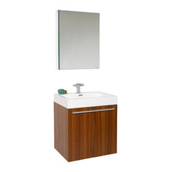 Fresca - Fresca Alto Bathroom Vanity w/ Faucet & Medicine Cabinet, Teak - Very handsome in its simplicity, this is a vanity that will move in, not stretch out and take up space, but will instead easily consolidate everything into two pieces. Life will be a less messy affair with this vanity installed. A wonderfully quietly designed piece, will invite everyone to come in and put outside troubles at the doorstep. Complete with a medicine cabinet that can be installed in two ways: wall mounted, or recessed.
