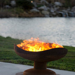 """The Fire Pit Gallery - Sand Dune 36"""" Steel Fire Pit – Firebowl with Pedestal Base - The """"Sand Dune"""" is a wood burning fire pit handcrafted with American Made Steel. The clean lines and gentle curves of Sand Dune are appealing in its simplicity. This sculptural functional metal art is sure to add beauty to your outdoor room.Each fire pit comes with a metal plate stating the name and number of the piece assuring you that each firebowl is a unique work of art.All of our fire pits are made in the USA with American made steel, feature a rust patina finish, have a rain drain at the bottom and come with a lifetime warranty.Free shipping of fire pits is included to the continental United States."""