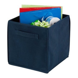 Honey Can Do Navy Non-Woven Foldable Cube - 4 Pack - Neaten up the car, the living room, the bathroom, and the bedroom - and all with the storage power of the Honey Can Do Navy Non-Woven Foldable Cube - 4 Pack. Crafted with durable polyester fabric, each of the four included bins boasts two built-in handles for easy transport, a flat-fold design for tidy storage when not in use, and a classic navy hue that goes in any room.About Honey-Can-DoHeadquartered in Chicago, Honey-Can-Do is dedicated to helping you organize your life. They understand that you need storage solutions that are stylish and affordable at the same time. Honey-Can-Do focuses on current design trends and colors to create products that fit your decor tastes while simultaneously concentrating on exceptional quality. When buying a Honey-Can-Do product, you can be sure you are purchasing a piece that has met safety control standards and social compliance methods.