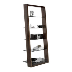 BDI - BDI Eileen Shelf, Espresso - The Eileen Shelf by BDI is has an elegant silhouette with slim tinted glass shelves framed by a rectangle wood structure. Line your wall with multiple shelves and it will give the graceful illusion that your keepsakes are floating. Choose between 4 wood finishes.