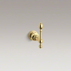 KOHLER - KOHLER IV Georges Brass(R) robe hook - Inspired by 18th-century English designs, IV Georges Brass accessories portray a traditional Georgian style that enhances any bath environment with elegant details. This robe hook, constructed of sturdy brass, features an ornate lever design accented with