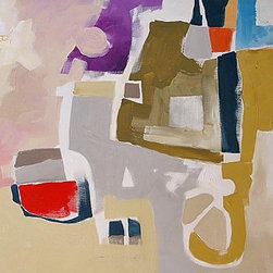 Original Painting Abstract Art Acrylic Canvas By Linda Monfort - This is a modern, geometric piece of original artwork by Linda Monfort. I love the purples, olive-greens and yellows in this piece!