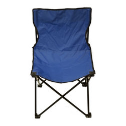 Triple7Deals - Blue Foldable Outdoor Chair - Folding flat for transport and unfolding into a sturdy seat, this lightweight chair features a steel frame with 600-denier polyester for a long-lasting place to park.   Includes chair and carrying case Weight capacity: 260 lbs. 17'' W x 27'' H 600-denier polyester / steel pipe Imported