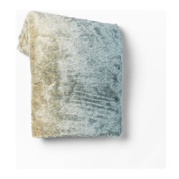 Faux Fur Throw, Turquoise Dip Dyed - Cozy up on chilly nights with this turquoise dip-dyed throw from West Elm. I love the ombré color variation.