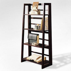 None - Espresso Finish 4-tier Ladder Bookcase Display Shelf - Style meets functionality with this stylish ladder bookcase. Made from durable hardwood,the bookcase has a beautiful espresso finish that is sure to complement your decor. Use to store your reading collection or as a display for treasured keepsakes.