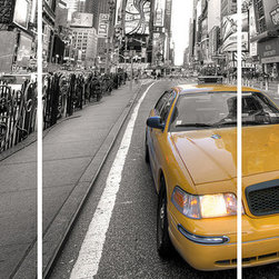 Home Decor - Yellow Taxi Panoramic Wall Decals - Famous New York City Streets and an iconic yellow cab are divided up into 3 peel and stick panels in this awesome panoramic wall art.  Imported from Italy