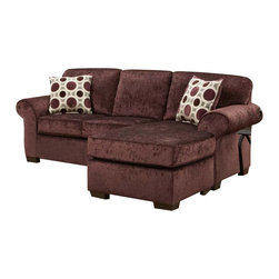 Chelsea Home - Worcester Sofa Chaise - Includes toss pillows. Transitional style. Prism elderberry cover. Seating comfort: Medium. Kiln-dried hardwood frame. Stress points are reinforced with blocks to secure long lasting frame. Attached back cushions. Sinuous springing system manufactured with reinforced 16-gauge border wire. Double springs are used on the ends nearest the arms to give balance in the seating. Hi-density foam cores with dacron polyester wrap cushions. Made from 100% polyester. Made in USA. No assembly required. 92 in. L x 38 in. W x 38 in. H (140 lbs.)