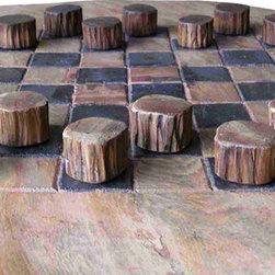 Groovystuff - Groovystuff Teak Wood Checker Set in Honey - Features: