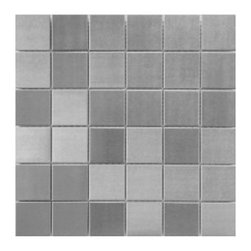 CNK Tile - Stainless Steel Mosaic Tile 2x2 - Our heavy duty stainless steel mosaic tiles are made with a heavy porcelain base, double A grade stainless steel with a mesh backing for easy installation. These stainless steel tiles are great for vertical surfaces such as a backsplash for a stove top in the kitchen. Unsanded grout is required for the installation for stainless steel tiles.  Stainless steel 2x2 are sold in square foot mesh mounted sheets with 6 tiles across the top and side.