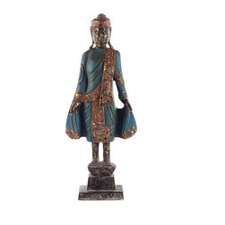 """Brilliant Imports - Thai Style Buddha, Blue, 20.5h X 4.5d (Base) X 5""""w (Base) - This handsome, long-eared Buddha wears the opulent robes of Thailand. In blue. Intricately carved in wood."""