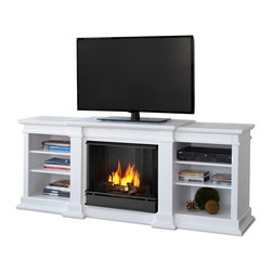 """Real Flame - Fresno Ventless Gel Fireplace in White - Uses clean burning Real Flame gel fuel emitting up to 9,000 BTUs of heat per hour lasting up to 3 hours.. Uses Only Real Flame 13oz Gel Fuel Cans, not included. Fireplace includes wooden mantel, firebox, hand painted cast-concrete log, and screen kit.. Fits up to a 50"""" diagonal TV - 100lb. weight limit.. Solid wood and veneered MDF construction. Shelf dimensions: 17 x 14.5Enjoy the crackle and ambiance of a Real Flame fireplace, this substantial freestanding fireplace also doubles as an entertainment center. Available in dark walnut, white and black, this unit is able to hold a 50"""" diagonal television of 100 lbs. or less and has adjustable shelving, to accommodate most electronics."""