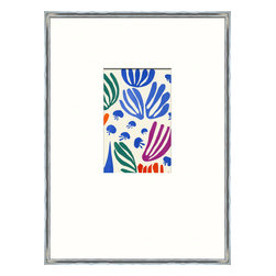 Soicher-Marin - Matisse Minis B - Giclee Print with a silver metallic wood frame with white mat insert.  Includes glass, eyes and wire. Made in the USA. Wipe down with damp cloth
