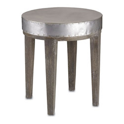 "Currey and Company - Wren Table, 18""d - With a nod to both industrial and chic references, this small accent table has a round metal top with rivet details around the edges. There are four gray, square, tapered solid wood legs with white patina."