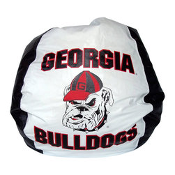 Bean Bag Boys - Bean Bag Boys Vinyl Bean Bag Chair in U of Georgia Bulldogs - Pear-shaped design offers back support or rounded appearance as needed. Complies with voluntary CPSC Guidelines for zipper closures. 100% Recyclable Product. Product is Refillable Proudly made in the U.S.A. Double-Stitched with Clear Nylon for added Strength.
