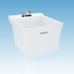 Mustee 19W Single Basin Wall Mount Utility Sink - The Mustee 19W Single Basin Wall Mount Utility Sink is a handy place for loads to wait for the dry or soak before the washer. This 13-inch deep tub is made from a solid piece thermoplastic resin that's naturally resistant to mold and mildew with an integrated leak-proof drain (with a stopper). The piece is wall-mounted with a bracket and side support (with the necessary hardware included). The tub features self-draining back shelf and a retainer curb to prevents water runoff. Unit is fitted for a 4-inch diameter faucet (not included).About Trumbull IndustriesFounded in 1922 as a single branch plumbing supply house, Trumball Industries has evolved over the years in to a privately held corporation and full-line distributor with specialized divisions. With 6 branch locations, Trumball Industries has several divisions: an Industrial Division that provides products and services to industrial manufacturers, a Home Center Division that offers expertise in all major kitchen and bath products, a Municipal Division that offers a full line of water and sewer products, and a Master Distribution Center with 500,000 square feet housing over 80,000 products. Aside from providing quality services to their customers, the people at Trumbull Industries are happy provide a tour of any of their facilities as well as assist you with any design, layout, or purchasing decisions.