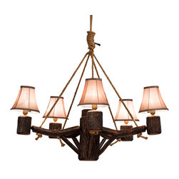"""Amish Made Rustic Chandelier (Real Branch) - SIZE: 36"""" Diameter X 16"""" High ... Rugged Beauty meets Amish craftsmanship. These chandeliers are made of real hickory branches so no two pieces are ever alike! Lampshades are included ... Note that this piece does not have a secret compartment like many of our other pieces do."""