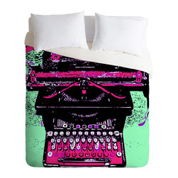 DENY Designs - Romi Vega Antique Typewriter Duvet Cover - Turn your basic, boring down comforter into the super stylish focal point of your bedroom. Our Luxe Duvet is made from a heavy-weight luxurious woven polyester with a 50% cotton/50% polyester cream bottom. It also includes a hidden zipper with interior corner ties to secure your comforter. it's comfy, fade-resistant, and custom printed for each and every customer.