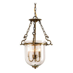 Currey & Company - Petit Athena Lantern - A lovely version of the classic hanging glass dome is made even better with a touch of handsome ironwork and seeded glass.