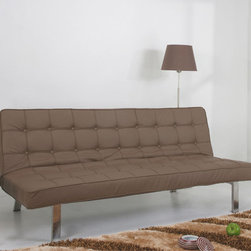 None - 'Vegas' Taupe Futon Sofa Bed - Add comfort and a contemporary touch to any room in your home with this Vegas futon sofa bed. This bed converts easily into a couch to entertain friends and family.