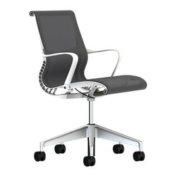 Herman Miller - Setu Chair, Arms - The Herman Miller Setu Chair is an affordable and effective option for office or home seating. Designed by the German Studio 7.5 the Setu Chair from Herman Miller is a stylish chair that will keep you comfortable without the need for adjustments.