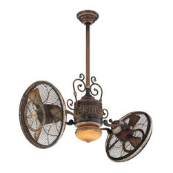 Minka Aire - Minka Aire Gyro Traditional Ceiling Fan in Belcaro Walnut - Minka Aire Gyro Traditional Model F502-BCW in Belcaro Walnut with Belcaro Walnut Finished Blades. Included 100W Halogen Light Fixture with Aged Champagne Glass for Traditional Gyro.