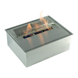 "Ignis - EB1600 Ethanol Fireplace Burner - Pay homage to your ""green"" side with this eco-friendly EB1600 Ethanol Fireplace Burner Insert. It uses earth-friendly ethanol, which burns cleanly and is better for the environment than wood. It can be used in the creation of a custom fireplace design, although it requires no vent, gas line, or electric line, or you can utilize it in an existing wood-burning fireplace if desired. This big unit offers an astounding 30 hours of burn time and holds up to 7.5 liters of ethanol. With an output of 6,000 BTUs, it will keep an average room warm and toasty, all season long, for many seasons to come. Dimensions: 14 1/2"" x 11 1/2"" x 5 1/4"", Fire Opening: 9"" x 1"". Features: Ventless - no chimney, no gas or electric lines required. Easy or no maintenance required. Capacity: 7.5 Liters. Approximate burn time - 30 hours per refill. Approximate BTU output - 18000. Double Layer."