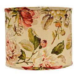 "Lamps Plus - Country - Cottage Large Rose Floral Drum Lamp Shade 16x16x13 (Spider) - A soft colored drum lamp shade in a beautiful combination of soft pink beige and green colors. A hardback lamp shape is lined in polystyrene material. A chrome spider fitter completes the look. The correct size harp is included. Large drum lamp shade. Rose floral print. Hardback shade design. Chrome spider fitter. Cotton material. Unlined. 1/2"" fitter drop. 16"" across the top and bottom. 13"" high. Made in USA.   Large drum lamp shade.  Rose floral print.  Hardback shade design.  Chrome spider fitter.  Cotton material.  Unlined.  Made in USA.  1/2"" fitter drop.  16"" across the top and bottom.  13"" high."