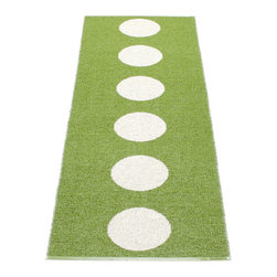 Pappelina - Pappelina Vera Plastic Runner, Green - This  rug from Pappelina, Sweden, uses PVC-plastic and polyester-warp to give it ultimate durability and clean-ability. Great for decks, bathrooms, kitchens and kid's rooms. Turn the rug over and the colors will be reversed!