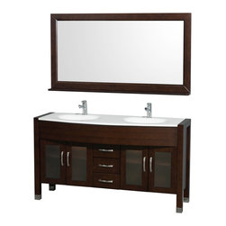 "Wyndham Collection - Daytona Bathroom Vanity in Espresso, White Stone Top, White Integral Sinks - The Daytona 60"" Double Bathroom Vanity Set - a modern classic with elegant, contemporary lines. This beautiful centerpiece, made in solid, eco-friendly zero emissions wood, comes complete with mirror and choice of counter for any decor. From fully extending drawer glides and soft-close doors to the 3/4"" glass or marble counter, quality comes first, like all Wyndham Collection products. Doors are made with fully framed glass inserts, and back paneling is standard. Available in gorgeous contemporary Cherry or rich, warm Espresso (a true Espresso that's not almost black to cover inferior wood imperfections). Transform your bathroom into a talking point with this Wyndham Collection original design, only available in limited numbers. All counters are pre-drilled for single-hole faucets, but stone counters may have additional holes drilled on-site."