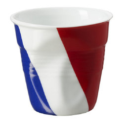 Revol Porcelain Froisses Espresso Tumbler White with French Flag