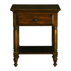Thomasville - Solid Wood Chestnut 1-drawer Side Table/ Nightstand - The Bryant Park side table combines elements of traditional design with modern style for today's homes. Characterized by the casual distressed details in the finish,the carved table legs and feet add elegance to any room.
