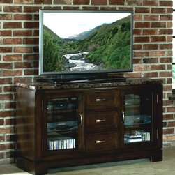 Standard Furniture - Bella TV Console - Two doors for placing media components. Three drawers for storage. Apron surrounding table tops. Faux marble travertine color tops. Surfaces clean easily with a soft cloth. Made from quality veneers over wood and select solids. Bar pulls in brushed nickel color finish. Deep brown color finish. Ships assembled. 58 in. W x 18 in. D x 32 in. H (155 lbs)
