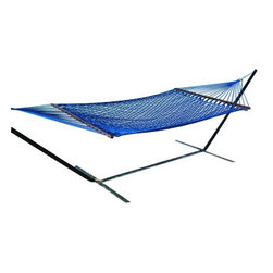 Classic Caribbean Style Royal Blue Rope Hammock w/ Wood Spreaders - Caribbean Rope Hammocks are the classic hammock style. This beautiful royal blue Caribbean rope hammocks is hand woven from soft spun polyester. Unlike similar cotton rope hammocks they will not rot, mold or mildew. 8mm triple ply rope is used for extra durability. The hardwood spreader bars have multiple coats of marine varnish to protect them from the elements and is a full 55 inches wide giving plenty of room for 2 adults. This hammock is easy to hang from any 2 points 12ft or more apart. NOTE: It does not come with stand or mounting hardware.