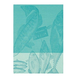 """Le Jacquard Francais - Le Jacquard Francais Marche Poissons Ice Tea / Kitchen Towel 24 x 31 """" - A fun, happy, light-hearted style, decidedly anit-crisis. Marche Fleurs is an ode to flowers and their d_cor. Damask fabric. 100% Pure cotton colored warp and weft."""