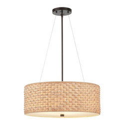Mythic Three Light Merlot Bronze Drum Pendant - Heads up, we are about to see a lot more basket weave on all home decor accents. This combination of bamboo and drum shade would work perfectly in many rooms!