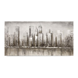"Vertuu Design - 'Skyline' Artwork - A muted color palette and urban landscape combine in the ""Skyline"" Artwork to create a soft, but striking appearance. Silver leaf accents on the skyscraper buildings add texture and shine to the piece. Display this hand-painted canvas among transitional design elements for a cohesive look."