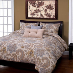 Siscovers - Isabella Beige Six Piece Queen Duvet Set - - A vintage floral pattern in neutral hues  - Set Includes: Duvet - 94x98, Two Queen Shams - 30x20, One Decorative Pillow - 16x16, One Decorative Pillow - 26x14  - Additional Color: White  - Workmanship and materials for the life of the product. SIScovers cannot be responsible for normal fabric wear, sun damage, or damage caused by misuse  - Reversible Duvet and Shams  - Care Instructions: Machine Wash  - Made in USA of Fabric made in China Siscovers - ISAB-XDUQN6