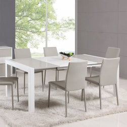 Chintaly Gina 5 Piece Extendable Dining Table Set - The dining table is the natural gathering place in the home, and the Chintaly Gina 5 Piece Extendable Dining Table Set makes it even more appealing. The high-gloss gray and white finish beautifully complements the sleek shape. Gray upholstered chairs coordinate to complete the look.About Chintaly ImportsBased in Farmingdale, New York, Chintaly Imports has been supplying the furniture industry with quality products since 1997. From its humble beginning with a small assortment of casual dining tables and chairs, Chintaly Imports has grown to become a full-range supplier of curios, computer desks, accent pieces, occasional table, barstools, pub sets, upholstery groups and bedroom sets. This assortment of products includes many high-styled contemporary and traditionally-styled items. Chintaly Imports takes pride in the fact that many of its products offer the innovative look, style, and quality which are offered with other suppliers at much higher prices. Currently, Chintaly Imports products appeal to a broad customer base which encompasses many single store operations along with numerous top 100 dealers. Chintaly Imports showrooms are located in High Point, North Carolina and Las Vegas, Nevada.